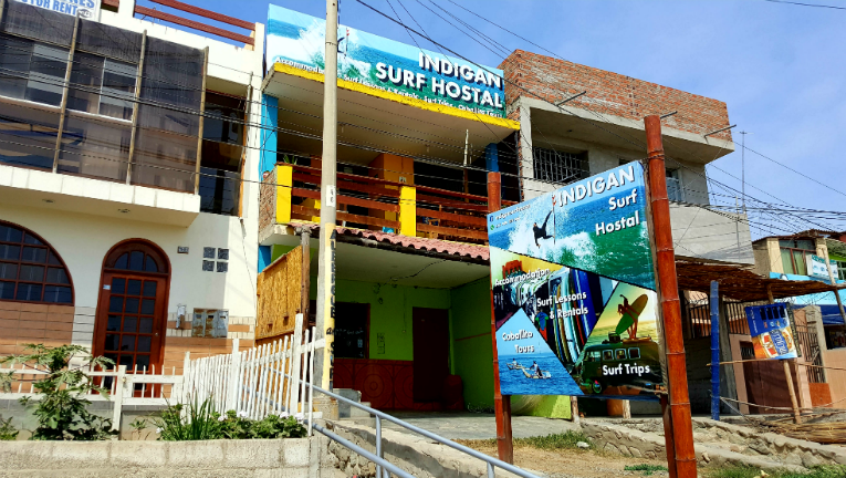 Outside of Indigan Surf Hostel Huanchaco Peru