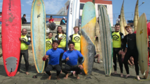 Urcia brothers teach a surf class together in Huanchaco Peru